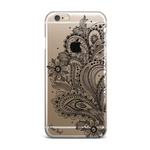Case Yard NEW Clear Plastic IPhone Case with Black Paisley Flower Design, Size 7