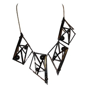 Alexis Bittar Alexis Bittar Abstract Two Tone Metal Bib Necklace