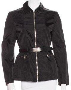Prada Silver Hardware Logo Belted Black Jacket