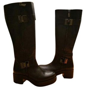 Roberto Botticelli Knee Leather Zip Black Boots