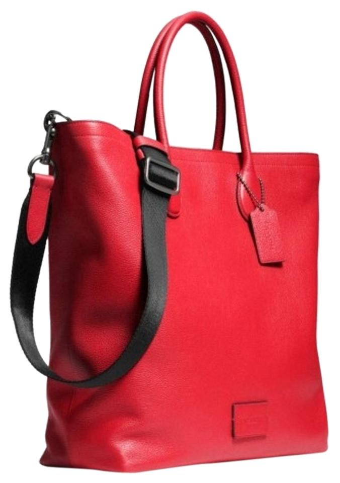 1af186b559fe Coach Mercer Men's In Pebble Red Leather Tote - Tradesy