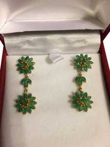Other 14K Yellow Gold Genuine Emerald Dangling Earrings 5.10ct