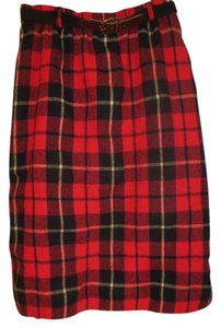 F. Shay Wool Maxi Skirt red / black