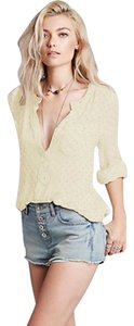 Free People Button Down Rayon Solid Guaze Tunic