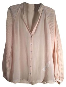 Zara Sheer Career Peasant Top Pale Peach