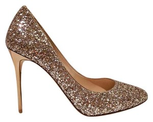 Jimmy Choo Esme Giltter Size 39.5 Nude Gold Pumps