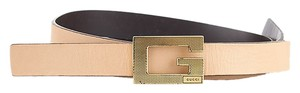 Gucci Gucci Women's Beige Leather Skinny Belt, Size 36 (18442)