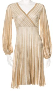 Missoni short dress Beige, Gold Knit Striped Chevron V-neck on Tradesy