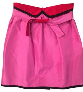 Cynthia Rowley Party Holiday Reversible Silk Skirt pink and red