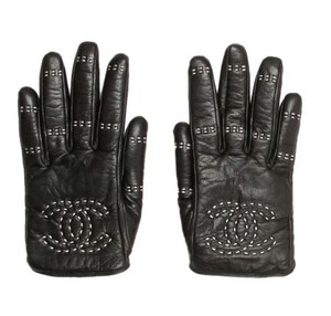 Chanel Black leather Chanel interlocking CC logo gloves 6.5