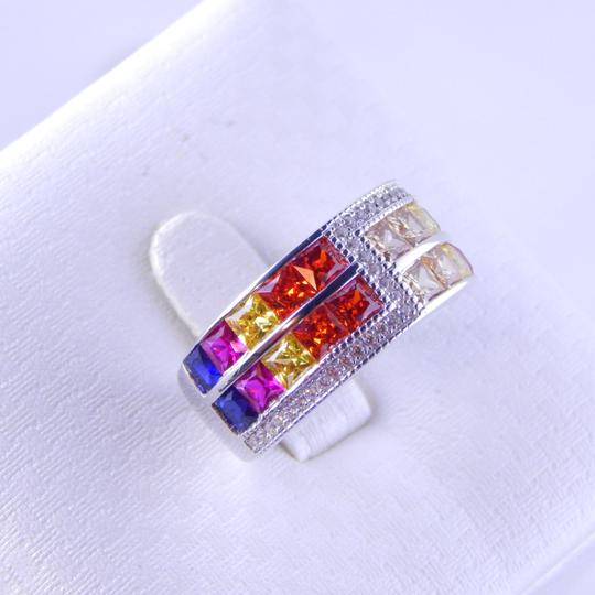 Custom-Made RAINBOW SAPPHIRE DOUBLE STAGGERED ROW RING 3 x 3mm PRINCESS CUT CHANNEL SET w/CZ ACCENTS STERLING SILVER Image 1