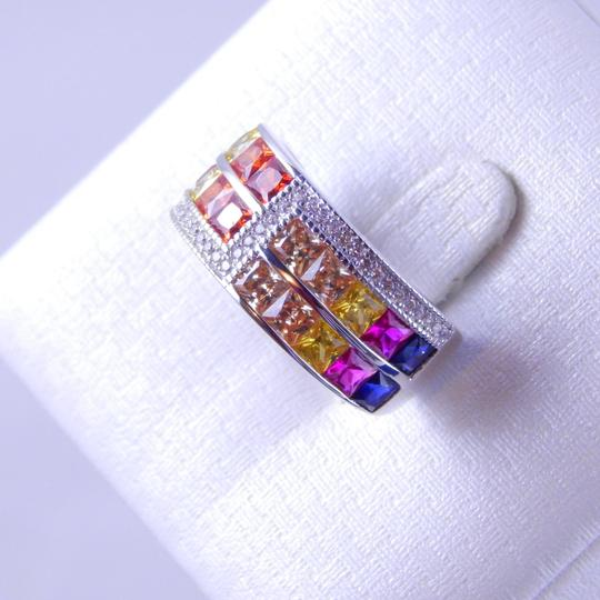 Custom-Made RAINBOW SAPPHIRE DOUBLE STAGGERED ROW RING 3 x 3mm PRINCESS CUT CHANNEL SET w/CZ ACCENTS STERLING SILVER Image 2