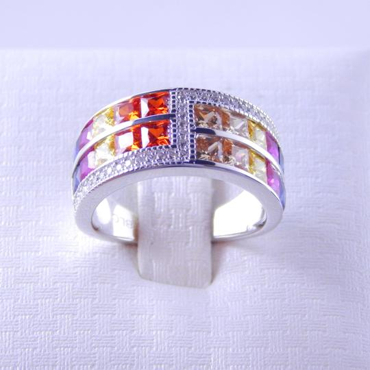 Custom-Made RAINBOW SAPPHIRE DOUBLE STAGGERED ROW RING 3 x 3mm PRINCESS CUT CHANNEL SET w/CZ ACCENTS STERLING SILVER