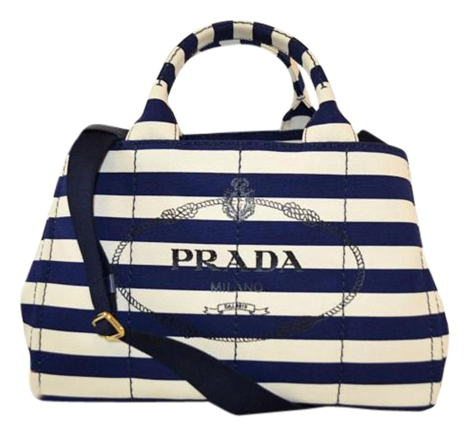 Prada Canapa New Stripe Canvas Large Tote Blue and White Shoulder ... fd8dff51e921d