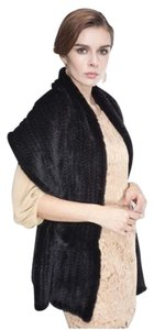 Denali new DENA knit genuine black mink stole shawl from Nordstrom OS