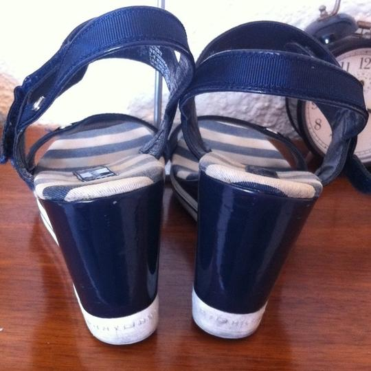 Tommy Hilfiger Blue White Striped Nautical Sandals White, Blue Wedges