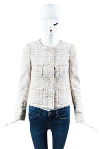 Chanel Chanel 04p Beige Multicolor Tweed Fringe Trim Multi Pocket Blazer Jacket