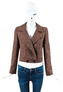 Chanel Chanel 01a Brown Red Pink Wool Tweed Cropped Blazer Jacket