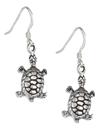 unknown Small Sterling Silver Antiqued Turtle Earrings