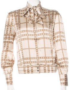 Burberry Nova Check Plaid Monogram Top Beige, White, Gold