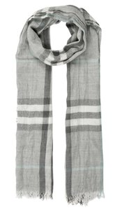 Burberry Grey, white multicolor Burberry Nova Check cashmere scarf