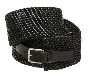 DKNY DKNY Black Leather Woven Belt (Size M)
