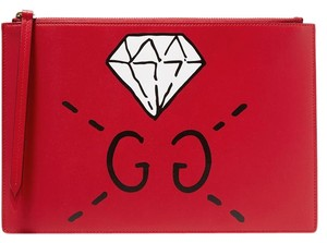 Gucci Printed Gg New Ghost Special Edition Red Clutch