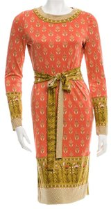 Tory Burch short dress Gold, Orange, Multicolor Floral Silk Longsleeve Belted Reva on Tradesy