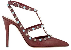 Valentino Rockstud Burgundy Embellished red Pumps