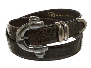 Harley Baldwin Harley Baldwin Brown Alligator Skin Silver Buckle Belt (Size 34)