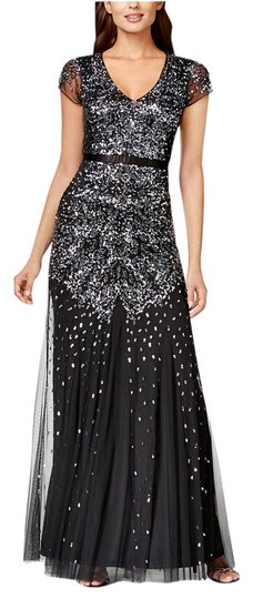 e26b308e41 durable service Adrianna Papell Cap-sleeve Embellished Gown Black Gunmetal  Size 4 Dress - 46