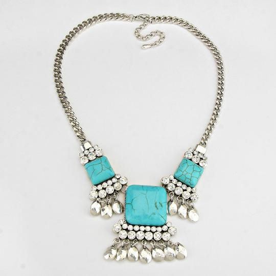 Unknown Vintage Howlite Turquoise Silver Chain Crystal Accent Necklace and Earring Set Image 1