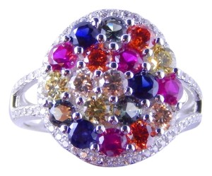 Other RAINBOW SAPPHIRE CLUSTER RING 3mm ROUND STERLING SILVER