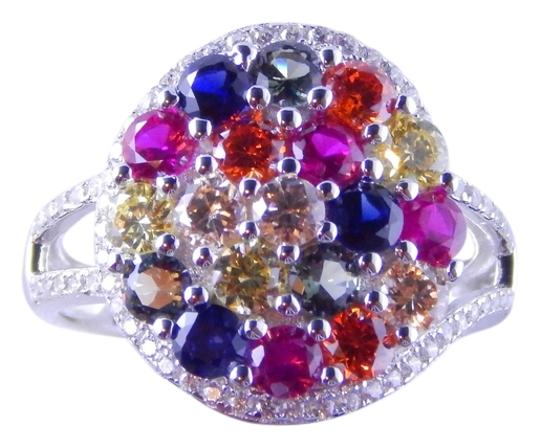 Preload https://img-static.tradesy.com/item/2027149/yellow-pink-orange-blue-rainbow-sapphire-cluster-3mm-round-sterling-silver-ring-0-0-540-540.jpg