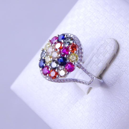 Other RAINBOW SAPPHIRE CLUSTER RING 3mm ROUND STERLING SILVER Image 1