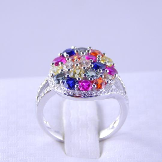Other RAINBOW SAPPHIRE CLUSTER RING 3mm ROUND STERLING SILVER Image 2