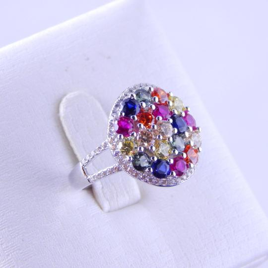 Other RAINBOW SAPPHIRE CLUSTER RING 3mm ROUND STERLING SILVER Image 3