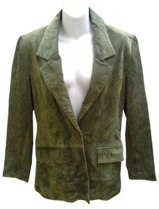 Lew Magram Suede Satin 1 Button Front Lapel Flap Green Leather Jacket