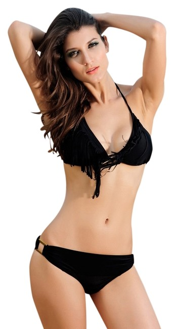 Other New's Halter Fringe Swimsuit with Buckle Accent BlackLC40606-2