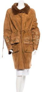 Dennis Basso Leather Embroidered Lambskin Fur Shearling Fur Coat