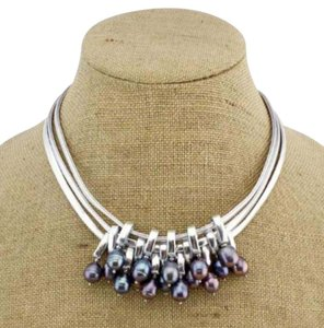 2di4 Freshwater Pearl & Silver Leather Necklace