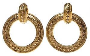 Chanel Chanel Gold Engraved Circle 2 Way Clip On Earrings