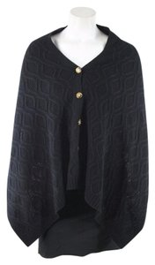 ORVIS Black Wool Knit Poncho Sweater
