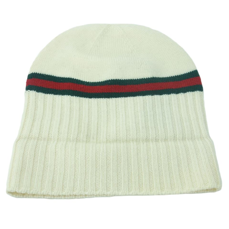 49bfdb318acbd Gucci White 294731 Men s Wool with Web Beanie Xl Hat - Tradesy