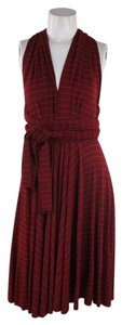 Butter by Nadia Wrap Striped Festive Red Dress