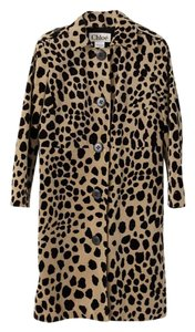 Chloé Trench Faux Fur Leopard Trench Coat