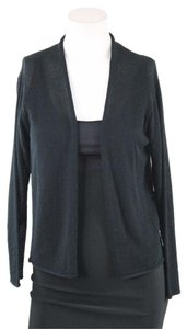 Eileen Fisher Black Crepe Wool Cropped Cardigan