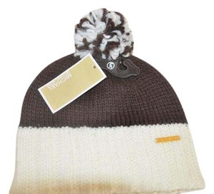 Michael Kors MICHAEL KORS COLORBLOCK POM POM KNIT SKULL HAT CAP BROWN CREAM 535435