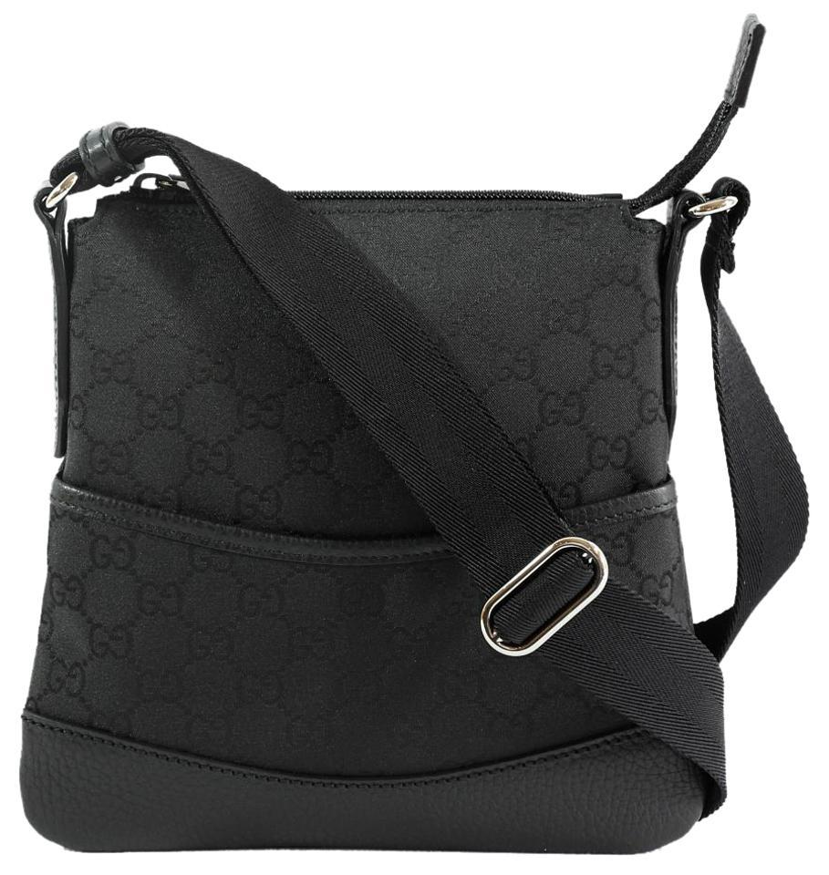 gucci 374416 gg small canvas leather trim crossbody messenger black messenger bag messenger. Black Bedroom Furniture Sets. Home Design Ideas