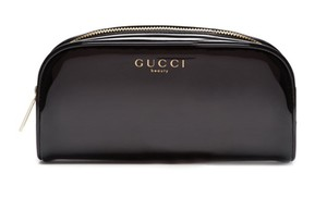 Gucci GUCCI beauty Black Patent Cosmetic MakeUp Pouch Beauty Clutch